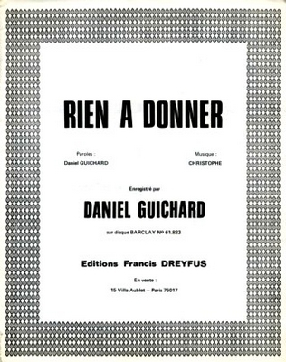 RIEN A DONNER - F.271D - Editions musicales Francis Dreyfus