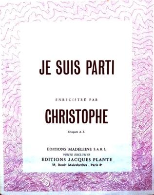 JE SUIS PARTI - E.1075.M - Editions Madeleine S.A.R.L. - Editions Jacques Plante
