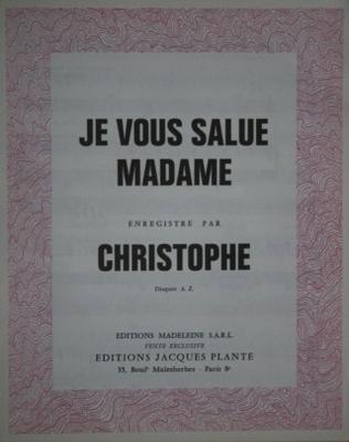JE VOUS SALUE MADAME - E1077M - Editions Madeleine S.A.R.L. - Editions Jacques Plante