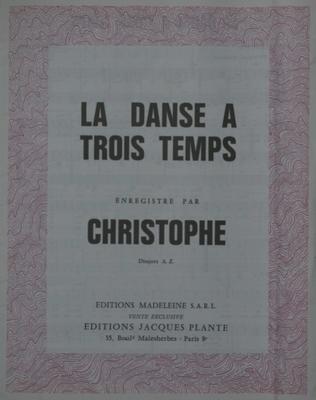LA DANSE A TROIS TEMPS - E1083M - Editions Madeleine S.A.R.L. - Editions Jacques Plante