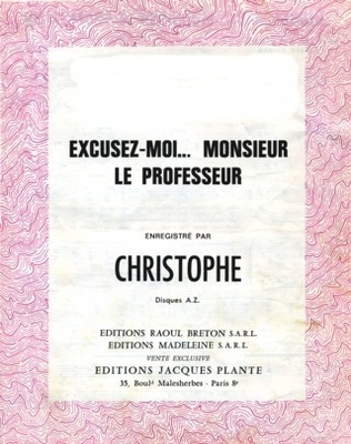 EXCUSEZ-MOI MONSIEUR LE PROFESSEUR - E1089M - Editions Madeleine S.A.R.L. - Editions Jacques Plante