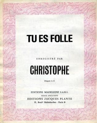TU ES FOLLE - E1094M - Editions Madeleine S.A.R.L. - Editions Jacques Plante
