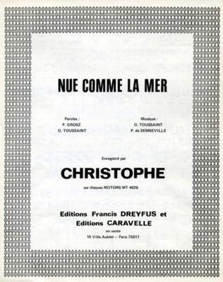NUE COMME LA MER - EF246 - Editions musicales Francis Dreyfus