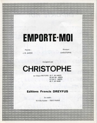 EMPORTE-MOI - EFD308 - Editions musicales Francis Dreyfus