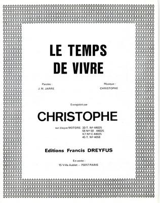 LE TEMPS DE VIVRE - EFD310 - Editions musicales Francis Dreyfus
