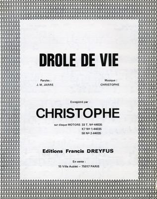 DROLE DE VIE - EFD353 - Editions musicales Francis Dreyfus