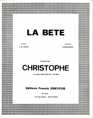 LA BETE - FD346 - Editions musicales Francis Dreyfus