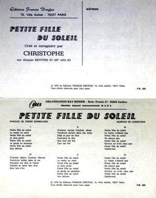 PETITE FILLE DU SOLEIL - FD423 - Editions musicales Francis Dreyfus