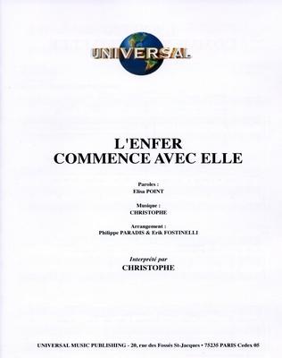L'ENFER COMMENCE AVEC ELLE - Universal Music - U.M.P. 3376