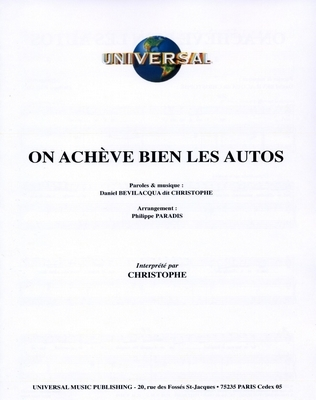 ON ACHEVE BIEN LES AUTOS - Universal Music - U.M.P. 3378